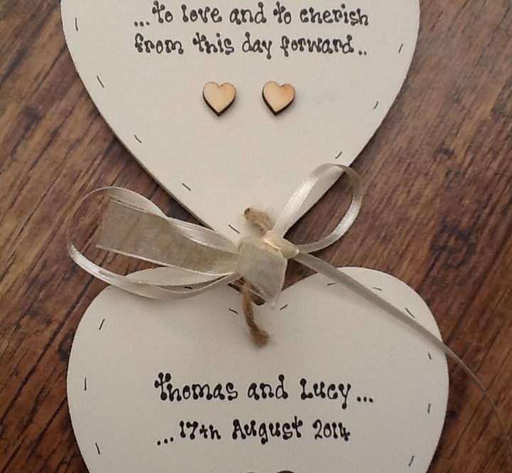 Shabby Personalised Gift Chic Double Heart Plaque Wedding Gift Bride